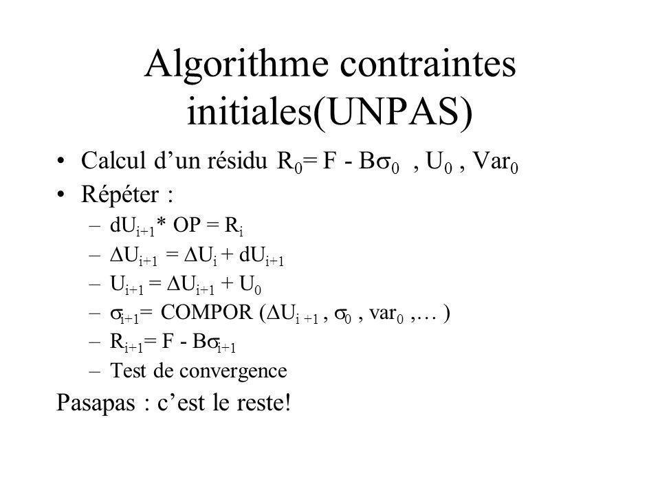 Algorithme contraintes initiales(UNPAS) Calcul dun résidu R 0 = F - B 0, U 0, Var 0 Répéter : –dU i+1 * OP = R i – U i+1 = U i + dU i+1 –U i+1 = U i+1 + U 0 – i+1 = COMPOR ( U i +1, 0, var 0,… ) –R i+1 = F - B i+1 –Test de convergence Pasapas : cest le reste!