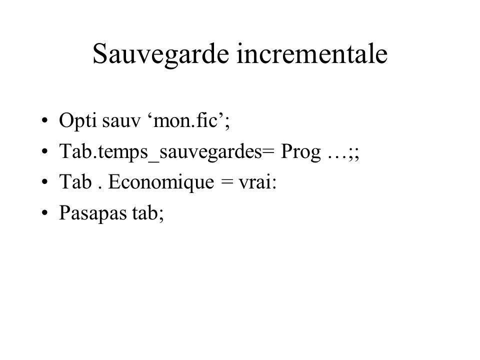 Sauvegarde incrementale Opti sauv mon.fic; Tab.temps_sauvegardes= Prog …;; Tab.