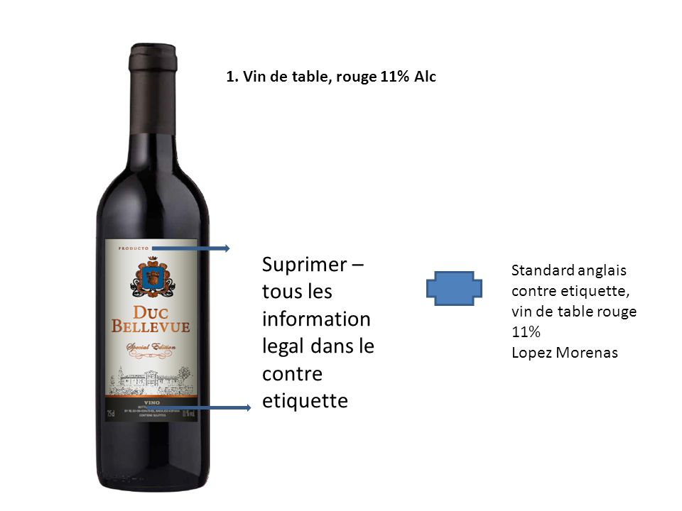 Standard anglais contre etiquette, vin de table rouge 11% Lopez Morenas 1. Vin de table, rouge 11% Alc Suprimer – tous les information legal dans le c