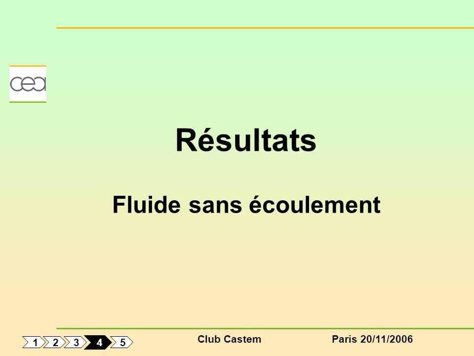 Club CastemParis 20/11/2006 1 5 3 2 4 Résultats Fluide sans écoulement