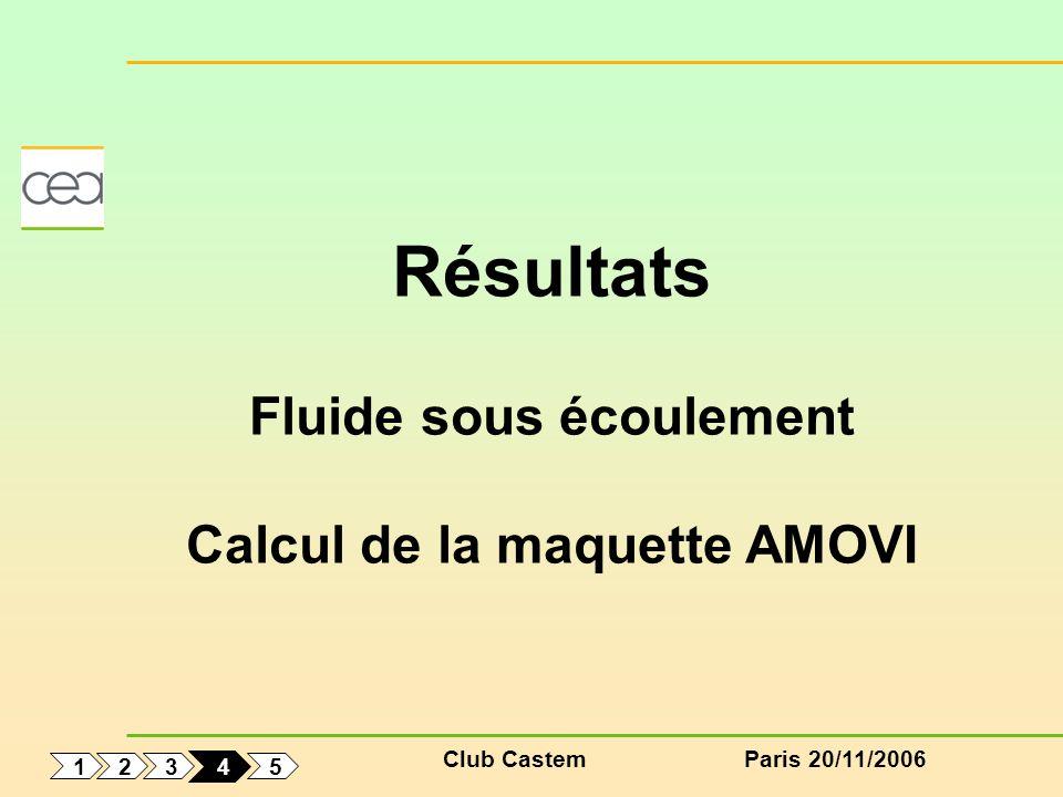 Club CastemParis 20/11/2006 1 5 3 2 4 Résultats Fluide sous écoulement Calcul de la maquette AMOVI