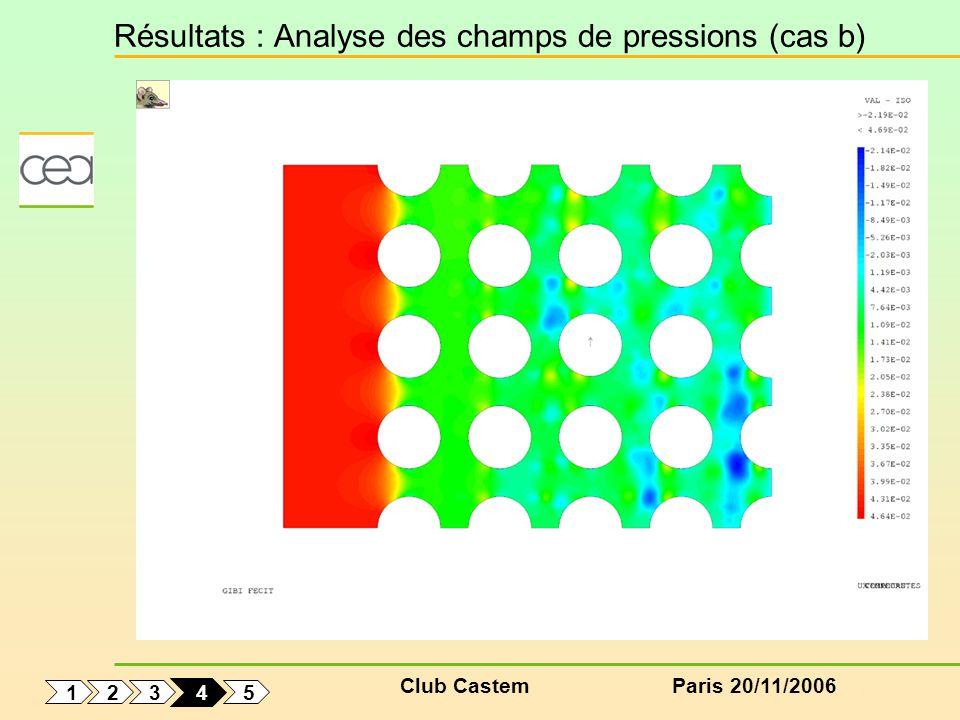 Club CastemParis 20/11/2006 Résultats : Analyse des champs de pressions (cas b) 1 5 3 2 4