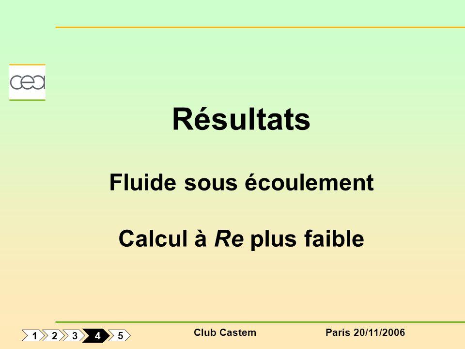 Club CastemParis 20/11/2006 1 5 3 2 4 Résultats Fluide sous écoulement Calcul à Re plus faible