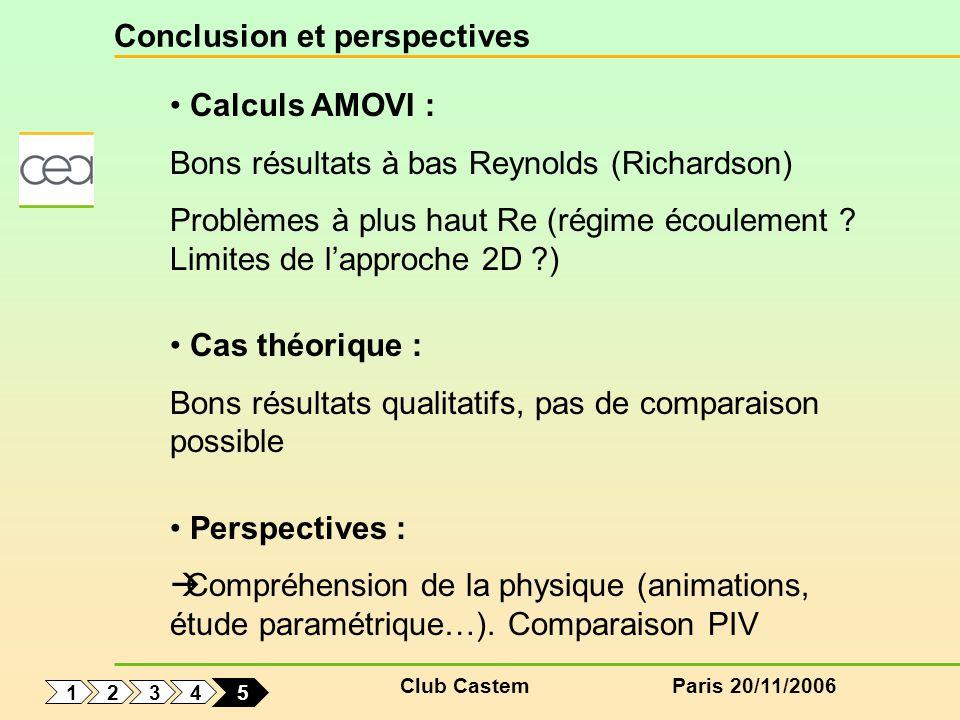 Club CastemParis 20/11/2006 Conclusion et perspectives Calculs AMOVI : Bons résultats à bas Reynolds (Richardson) Problèmes à plus haut Re (régime éco