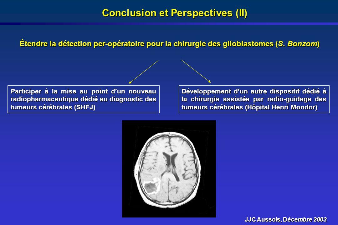 Conclusion et Perspectives (II) Étendre la détection per-opératoire pour la chirurgie des glioblastomes (S. Bonzom) Participer à la mise au point dun