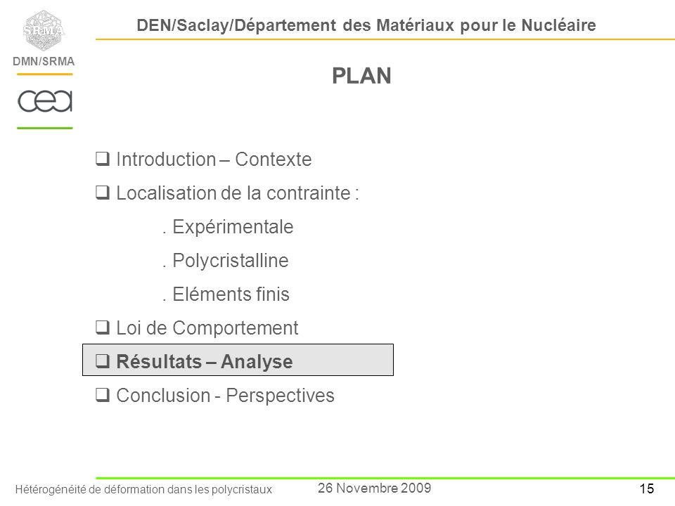 Hétérogénéité de déformation dans les polycristaux DEN/Saclay/Département des Matériaux pour le Nucléaire DMN/SRMA 15 26 Novembre 2009 PLAN Introducti