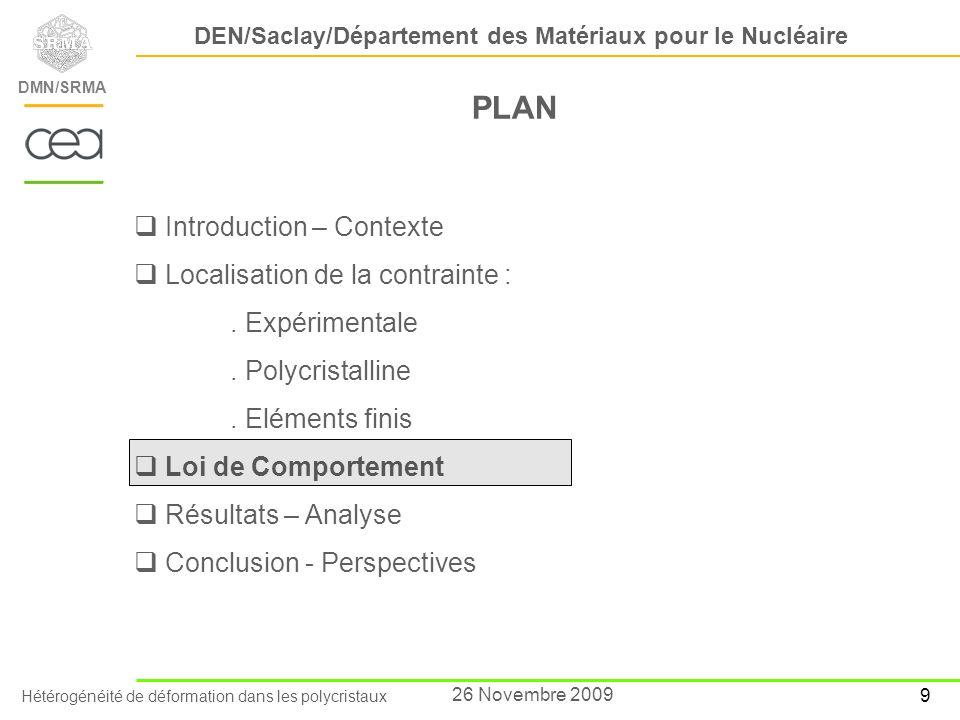 Hétérogénéité de déformation dans les polycristaux DEN/Saclay/Département des Matériaux pour le Nucléaire DMN/SRMA 10 26 Novembre 2009 Loi de comportement cristalline Développée dans le cadre de la thèse ECP/CEA de M.