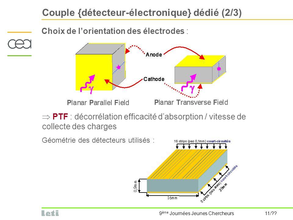 9 ème Journées Jeunes Chercheurs 11/?? Couple {détecteur-électronique} dédié (2/3) Choix de lorientation des électrodes : PTF : décorrélation efficaci