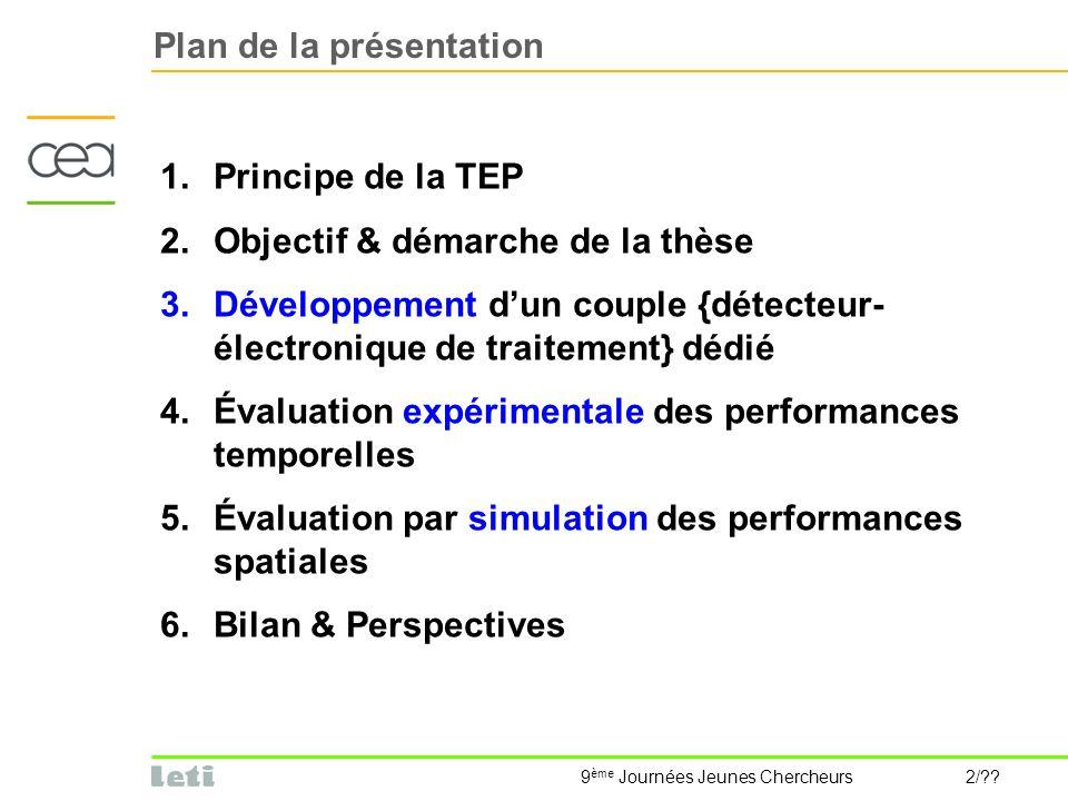 9 ème Journées Jeunes Chercheurs 2/?? Plan de la présentation 1.Principe de la TEP 2.Objectif & démarche de la thèse 3.Développement dun couple {détec