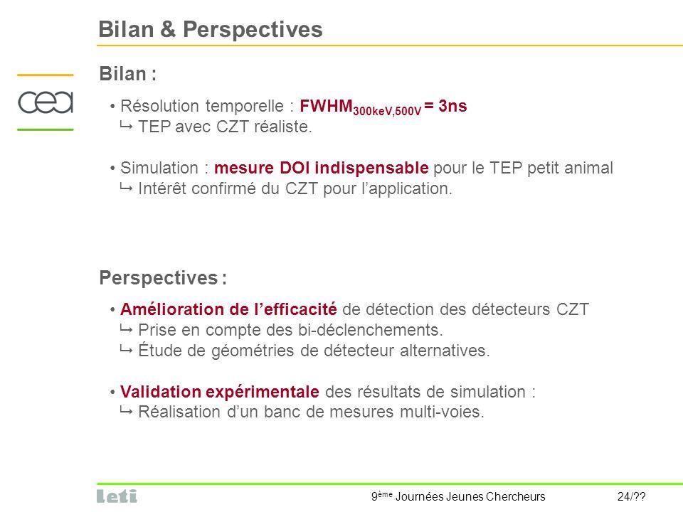 9 ème Journées Jeunes Chercheurs 24/?? Bilan & Perspectives Bilan : Résolution temporelle : FWHM 300keV,500V = 3ns TEP avec CZT réaliste. Simulation :