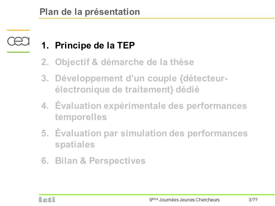 9 ème Journées Jeunes Chercheurs 3/?? Plan de la présentation 1.Principe de la TEP 2.Objectif & démarche de la thèse 3.Développement dun couple {détec