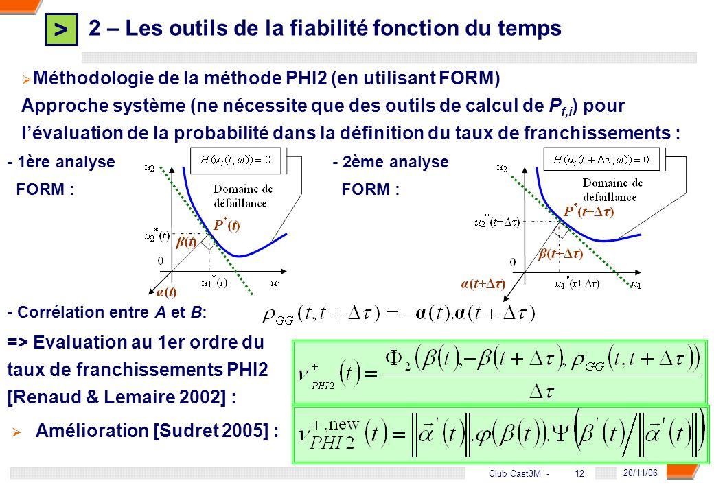 > 12 DGA - 20/11/06 12Club Cast3M - 2 – Les outils de la fiabilité fonction du temps Méthodologie de la méthode PHI2 (en utilisant FORM) Approche syst