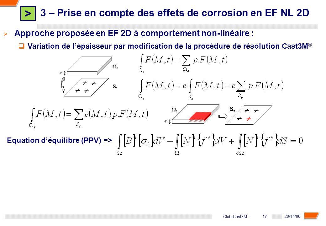 > 17 DGA - 20/11/06 17Club Cast3M - Approche proposée en EF 2D à comportement non-linéaire : Variation de lépaisseur par modification de la procédure