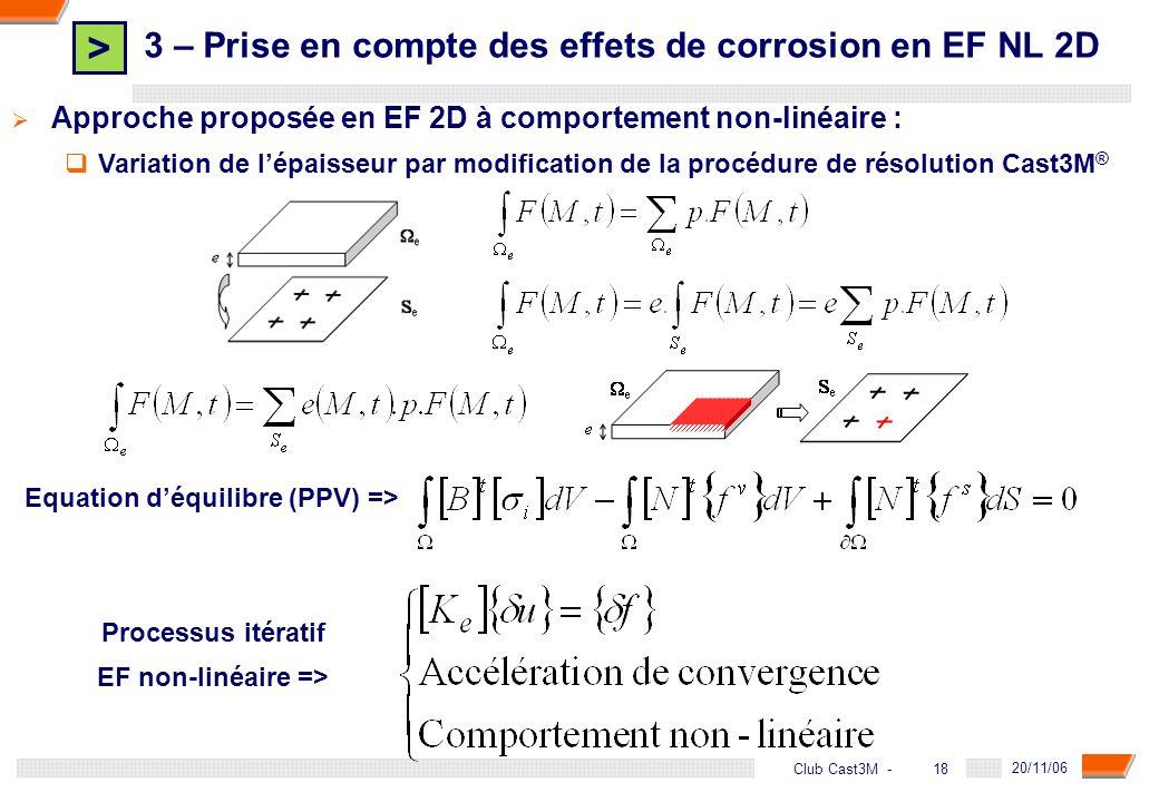 > 18 DGA - 20/11/06 18Club Cast3M - Approche proposée en EF 2D à comportement non-linéaire : Variation de lépaisseur par modification de la procédure