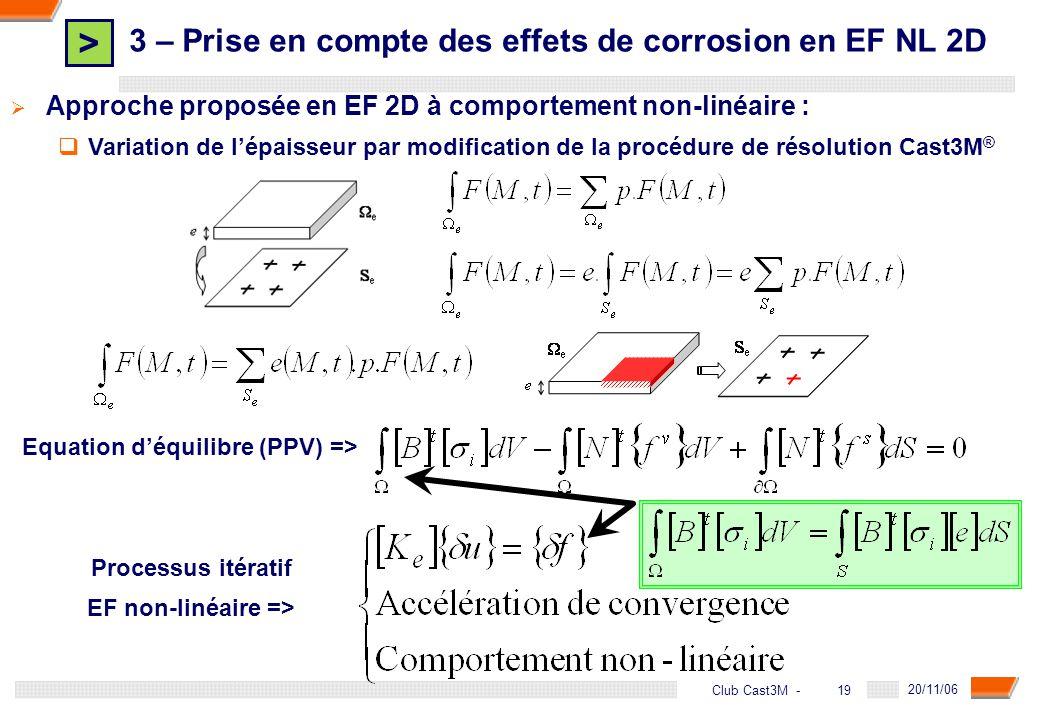 > 19 DGA - 20/11/06 19Club Cast3M - Approche proposée en EF 2D à comportement non-linéaire : Variation de lépaisseur par modification de la procédure