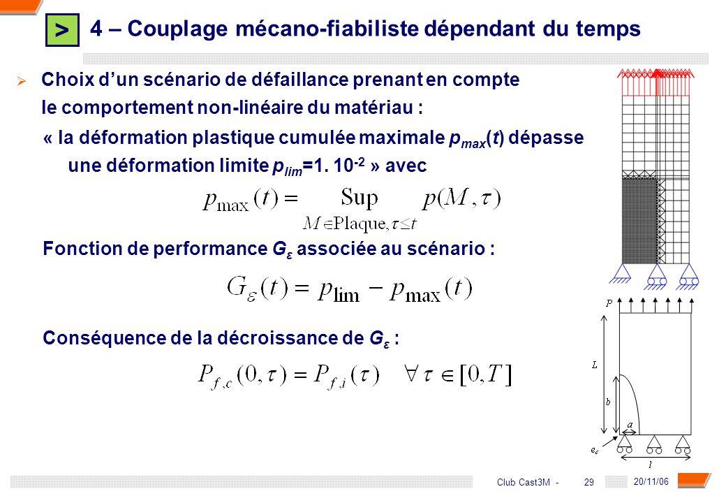 > 29 DGA - 20/11/06 29Club Cast3M - Fonction de performance G ε associée au scénario : Conséquence de la décroissance de G ε : « la déformation plasti