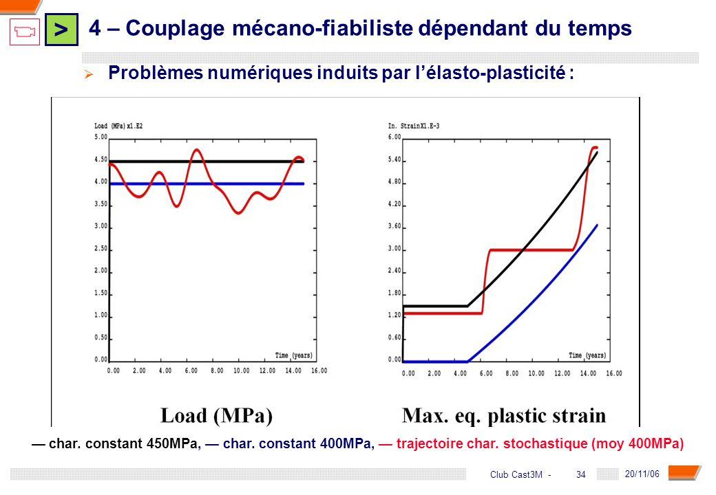 > 34 DGA - 20/11/06 34Club Cast3M - Problèmes numériques induits par lélasto-plasticité : char. constant 450MPa, char. constant 400MPa, trajectoire ch