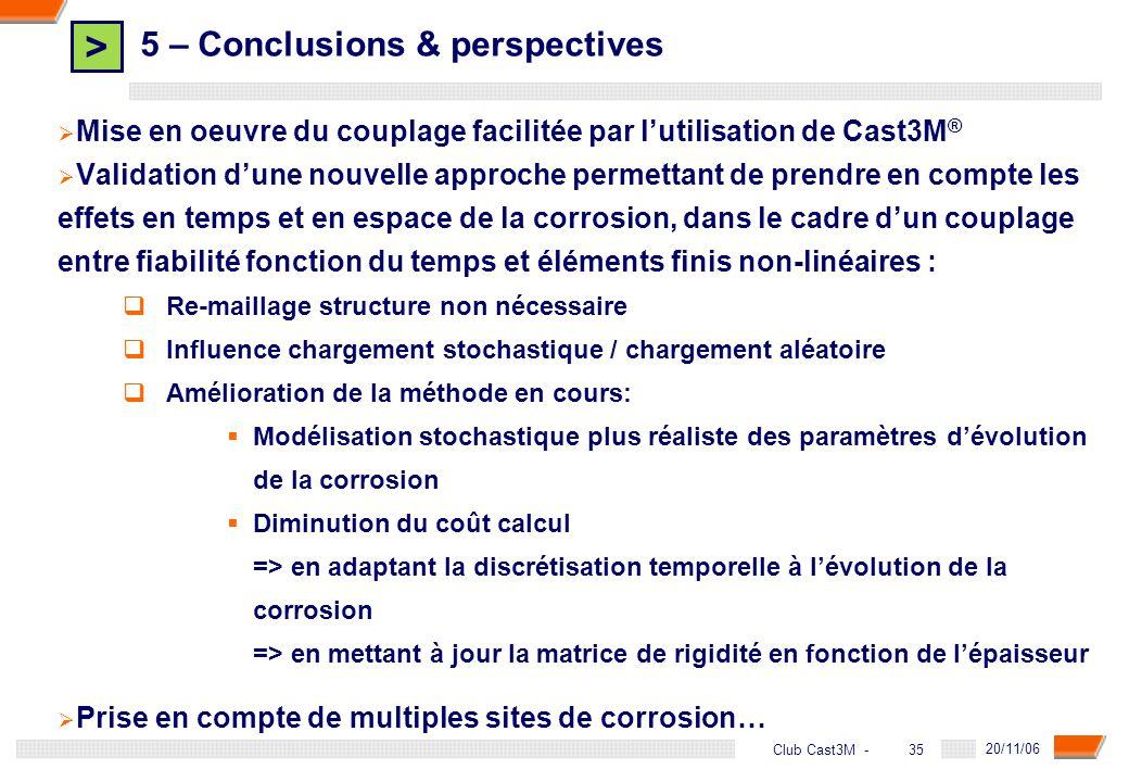 > 35 DGA - 20/11/06 35Club Cast3M - 5 – Conclusions & perspectives Mise en oeuvre du couplage facilitée par lutilisation de Cast3M ® Validation dune n