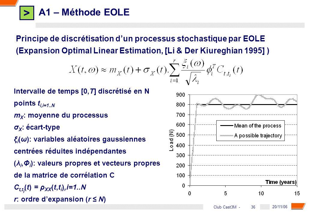 > 36 DGA - 20/11/06 36Club Cast3M - A1 – Méthode EOLE Principe de discrétisation dun processus stochastique par EOLE (Expansion Optimal Linear Estimat