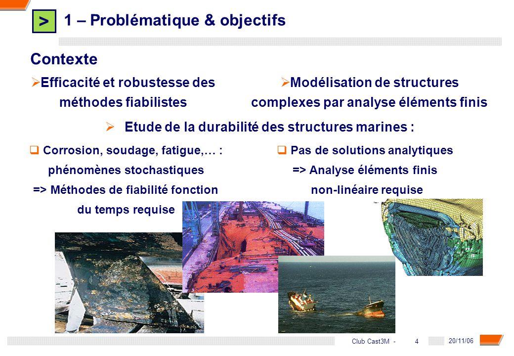 > 5 DGA - 20/11/06 5Club Cast3M - 1 – Introduction & objectifs Objectifs de la thèse Etre capable dappliquer une approche fiabiliste fonction du temps à des structures industrielles à comportement non-linéaire, dépendant du temps, etc… modélisées par éléments finis But du couplage mécano-fiabiliste dépendant du temps : évaluer plus précisément la durabilité dune structure tout au long de sa durée de vie, et fournir des méthodes doptimisation des facteurs de sécurité