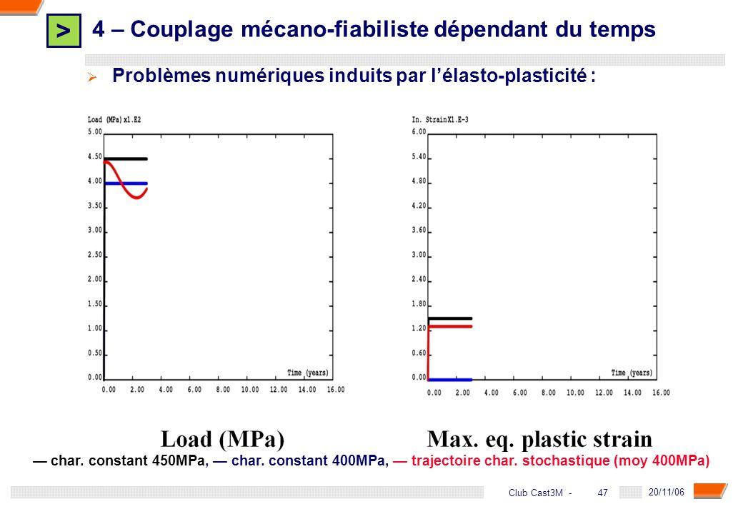 > 47 DGA - 20/11/06 47Club Cast3M - Problèmes numériques induits par lélasto-plasticité : char. constant 450MPa, char. constant 400MPa, trajectoire ch