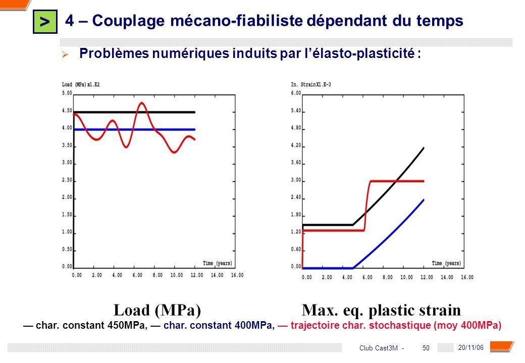 > 50 DGA - 20/11/06 50Club Cast3M - Problèmes numériques induits par lélasto-plasticité : char. constant 450MPa, char. constant 400MPa, trajectoire ch