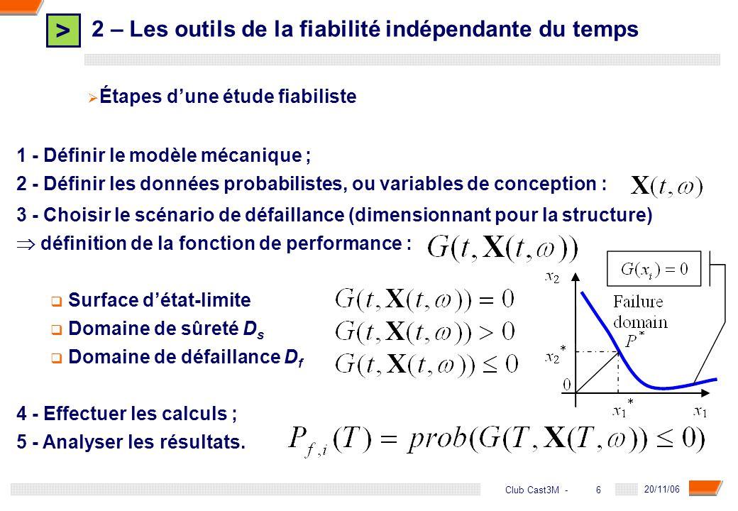 > 6 DGA - 20/11/06 6Club Cast3M - 2 – Les outils de la fiabilité indépendante du temps Étapes dune étude fiabiliste 1 - Définir le modèle mécanique ;