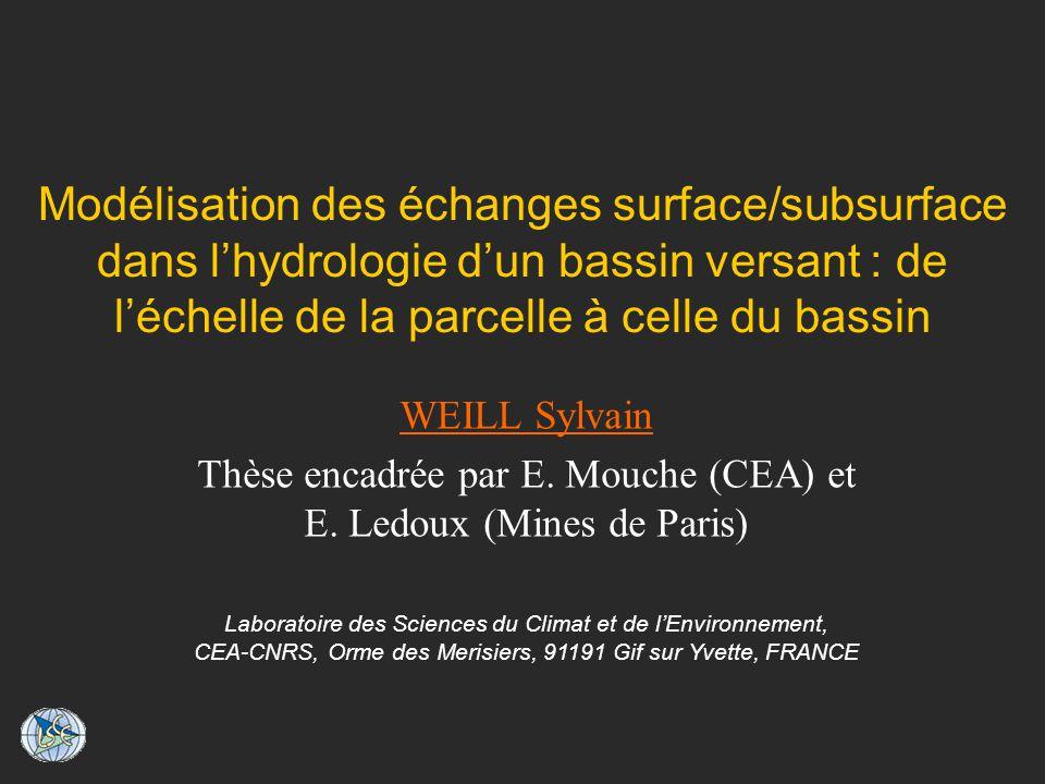 Modélisation des échanges surface/subsurface dans lhydrologie dun bassin versant : de léchelle de la parcelle à celle du bassin WEILL Sylvain Thèse encadrée par E.