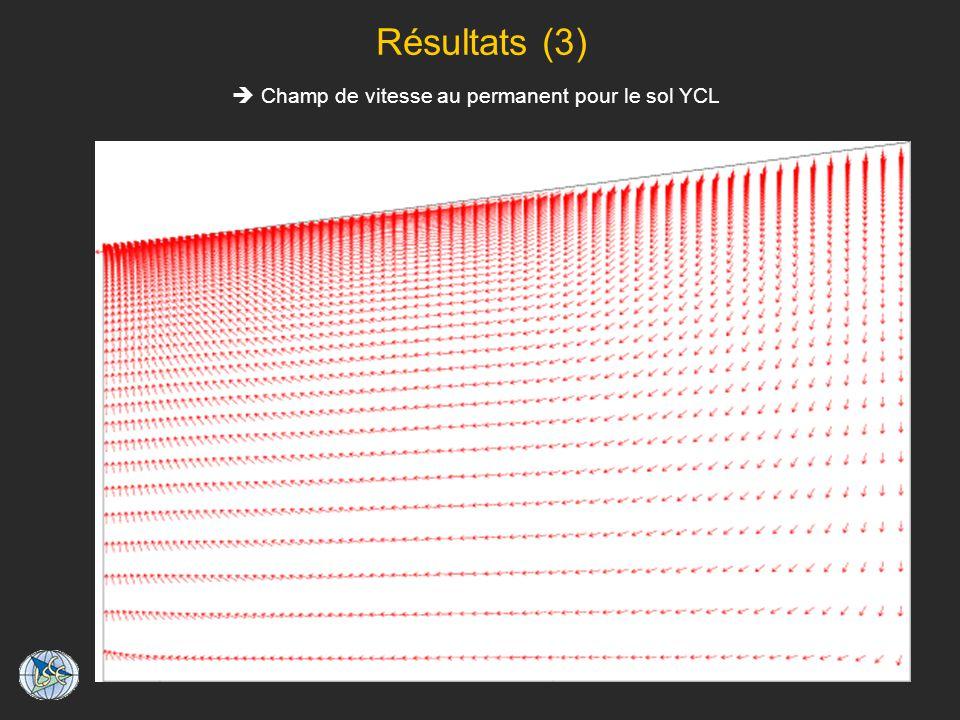 Résultats (3) Champ de vitesse au permanent pour le sol YCL