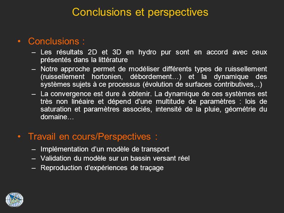 Conclusions et perspectives Conclusions : –Les résultats 2D et 3D en hydro pur sont en accord avec ceux présentés dans la littérature –Notre approche