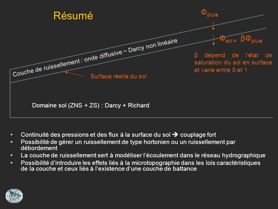 Résumé Domaine sol (ZNS + ZS) : Darcy + Richard Couche de ruissellement : onde diffusive ~ Darcy non linéaire Surface réelle du sol Ф pluie Ф sol = βФ pluie β dépend de létat de saturation du sol en surface et varie entre 0 et 1 Continuité des pressions et des flux à la surface du sol couplage fort Possibilité de gérer un ruissellement de type hortonien ou un ruissellement par débordement La couche de ruissellement sert à modéliser lécoulement dans le réseau hydrographique Possibilité dintroduire les effets liés à la microtopographie dans les lois caractéristiques de la couche et ceux liés à lexistence dune couche de battance