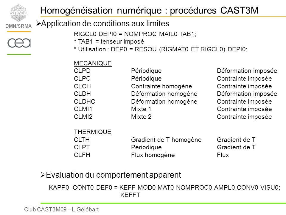 Club CAST3M09 – L.Gélébart DMN/SRMA Homogénéisation numérique : procédures CAST3M Application de conditions aux limites RIGCL0 DEPI0 = NOMPROC MAIL0 T