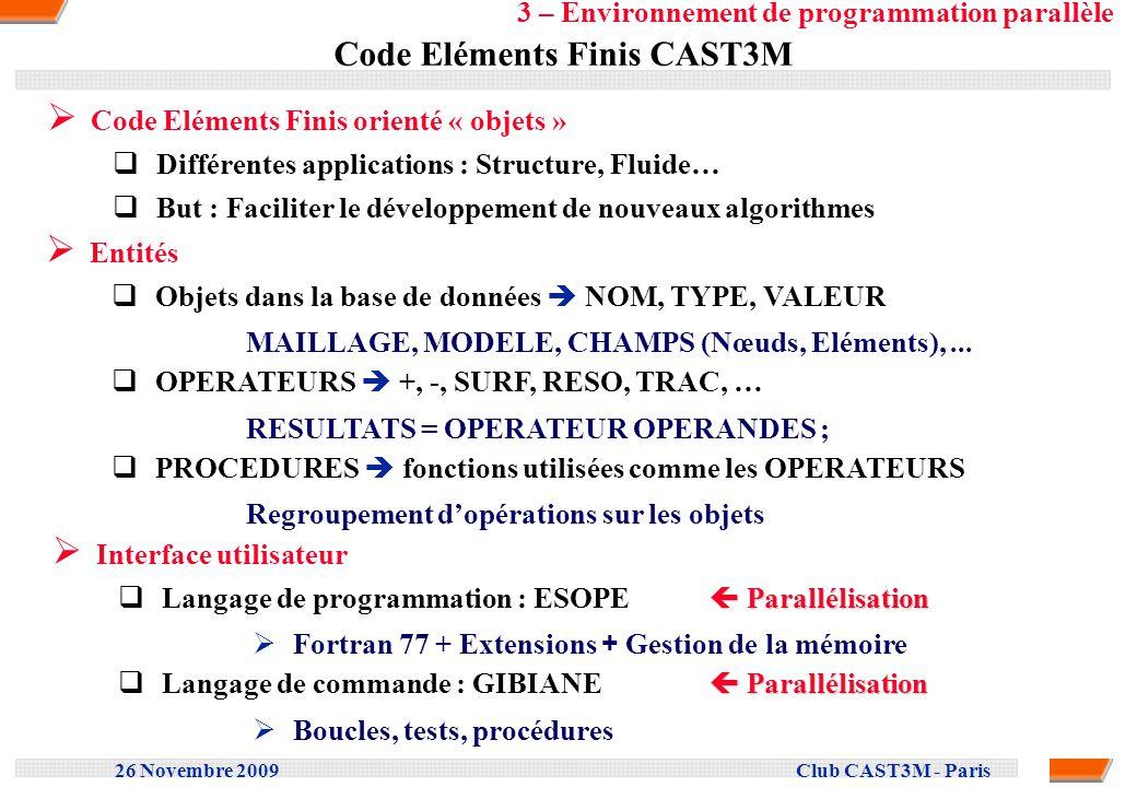 26 Novembre 2009 Club CAST3M - Paris Code Eléments Finis CAST3M Code Eléments Finis orienté « objets » Différentes applications : Structure, Fluide… B