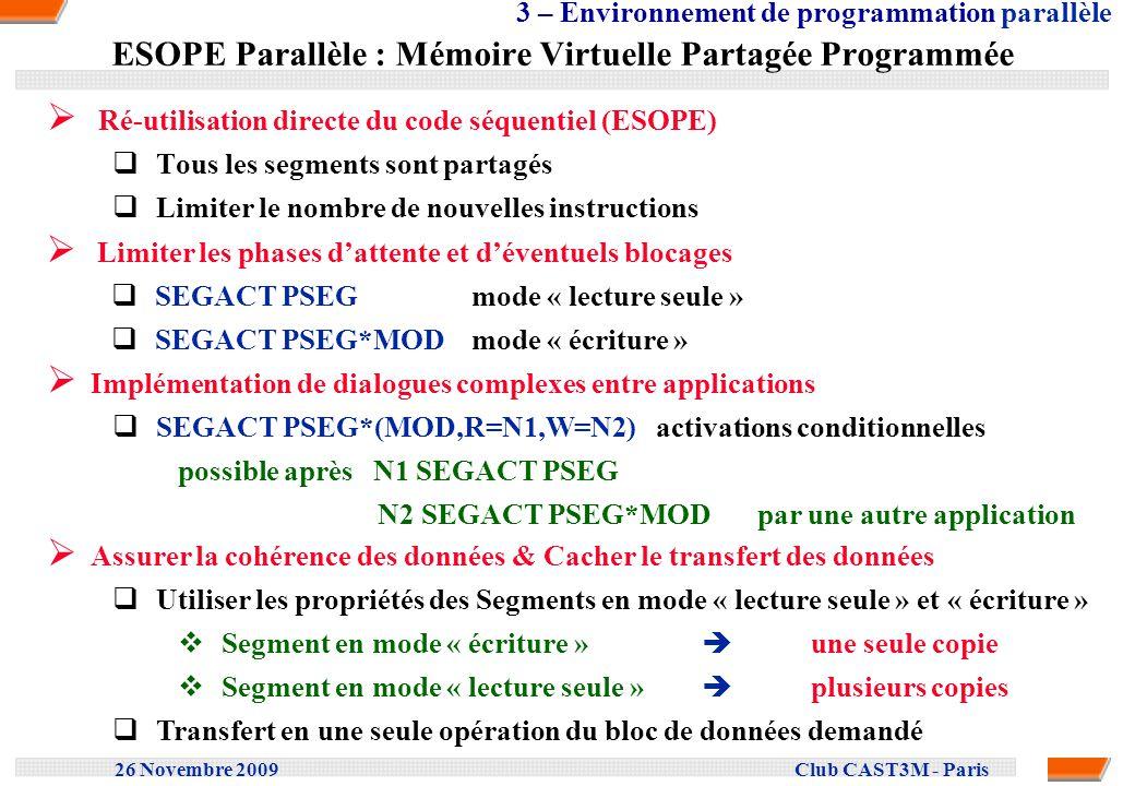 26 Novembre 2009 Club CAST3M - Paris ESOPE Parallèle : Mémoire Virtuelle Partagée Programmée Ré-utilisation directe du code séquentiel (ESOPE) Tous le