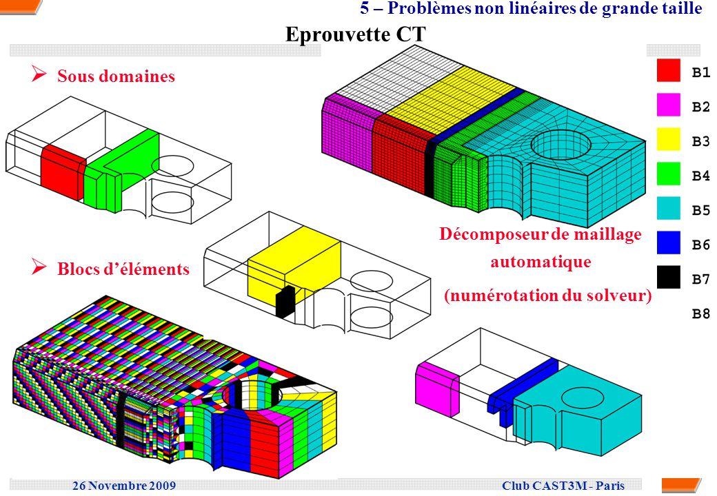 26 Novembre 2009 Club CAST3M - Paris Eprouvette CT Sous domaines Blocs déléments Décomposeur de maillage automatique (numérotation du solveur) 5 – Pro