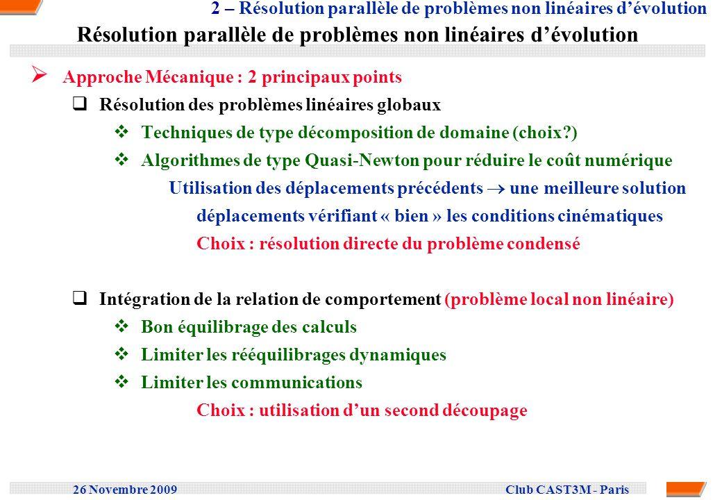 26 Novembre 2009 Club CAST3M - Paris Résolution de problèmes linéaires de grande taille Limiter le coût numérique lorsque le nombre de DDL augmente (plus de 10 5 ) Limiter le remplissage de la matrice de rigidité lors de la factorisation Encombrement de la matrice factorisée pour un cube avec N nœuds N 1.67 pour une méthode de type Cuthill Mac Kee N 1.34 pour une méthode de type Nested dissection Nested dissection Partition récursive du maillage en 2 zones Numérotation des nœuds : zone 1, zone 2, interface Minimiser lencombrement de la matrice : Equilibrage des zones & minimiser la taille des interfaces Problème doptimisation résolu par une méthode de Monte Carlo Similaire à une technique de décomposition de domaine Solveur direct parallèle : version Multithreads en mémoire partagée 4 – Résolution de problèmes linéaires de grande taille