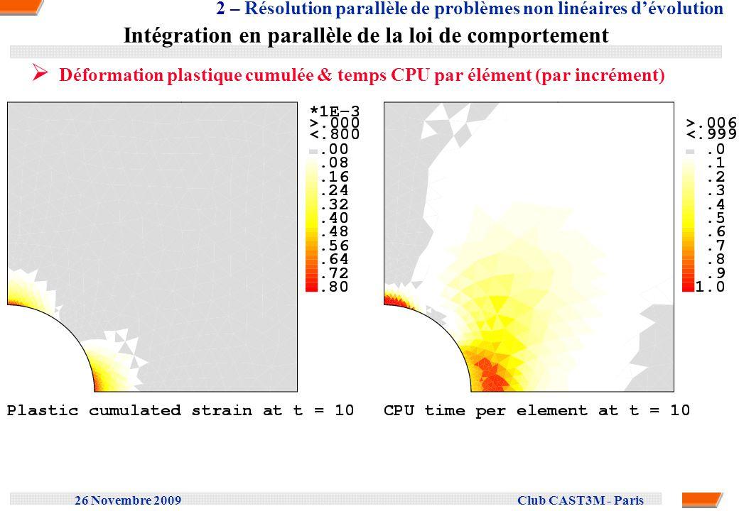 26 Novembre 2009 Club CAST3M - Paris Intégration en parallèle de la loi de comportement Temps CPU par élément & temps CPU par sous structure (par incrément) 2 – Résolution parallèle de problèmes non linéaires dévolution