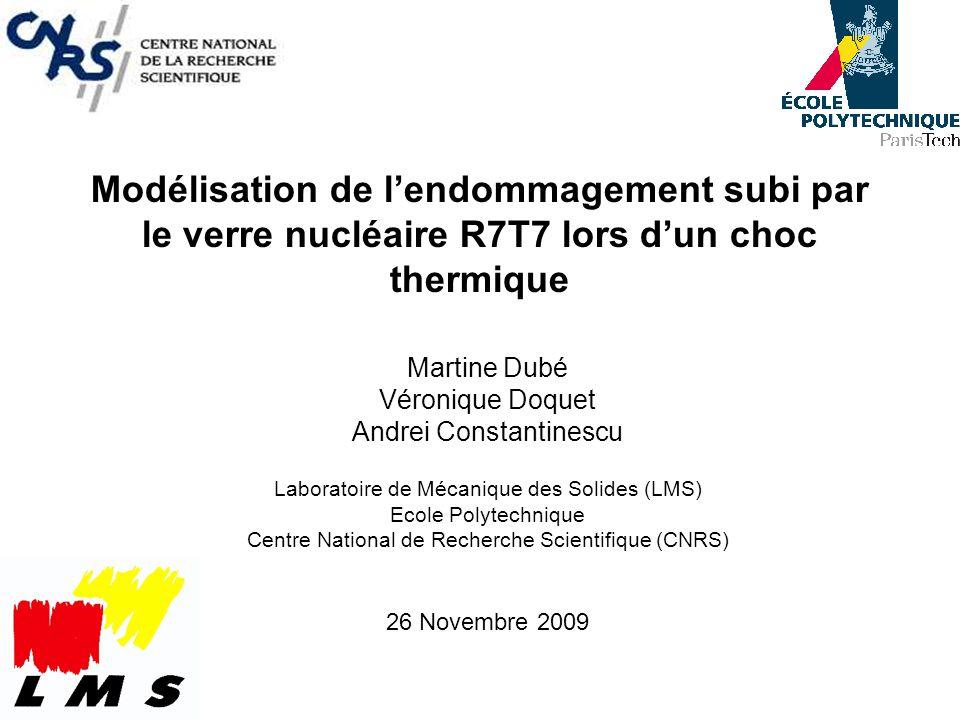 Modélisation de lendommagement subi par le verre nucléaire R7T7 lors dun choc thermique Martine Dubé Véronique Doquet Andrei Constantinescu Laboratoir