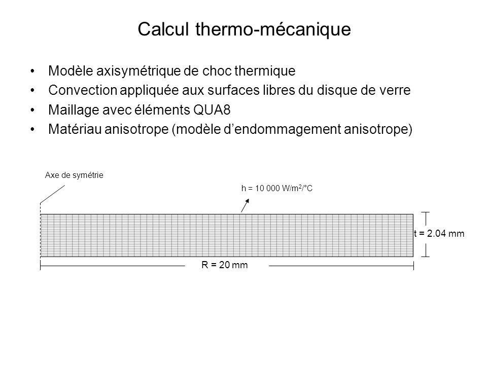 Calcul thermo-mécanique Modèle axisymétrique de choc thermique Convection appliquée aux surfaces libres du disque de verre Maillage avec éléments QUA8 Matériau anisotrope (modèle dendommagement anisotrope) Axe de symétrie h = 10 000 W/m 2 /°C R = 20 mm t = 2.04 mm