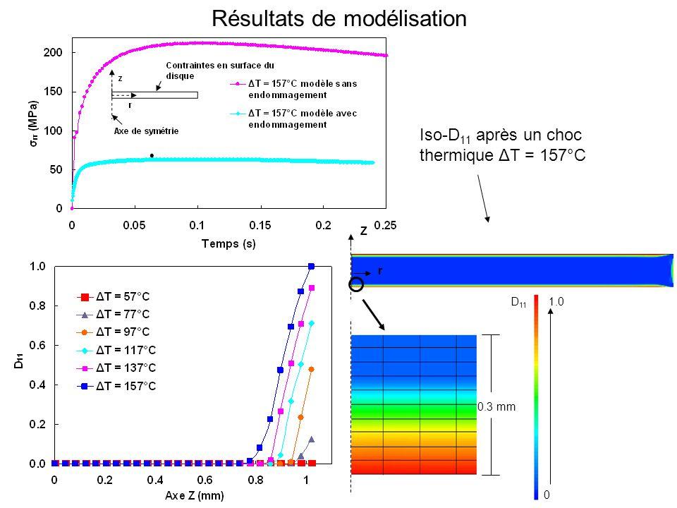 Résultats de modélisation Iso-D 11 après un choc thermique ΔT = 157°C Z r 0.3 mm 0 1.0D 11