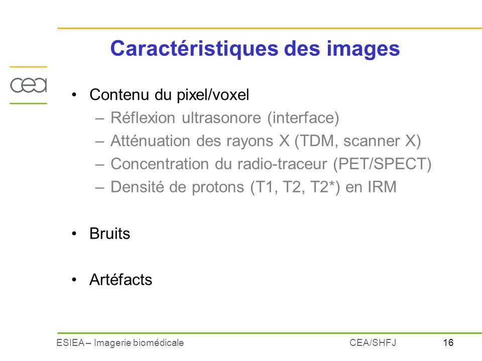 16ESIEA – Imagerie biomédicaleCEA/SHFJ Contenu du pixel/voxel –Réflexion ultrasonore (interface) –Atténuation des rayons X (TDM, scanner X) –Concentra