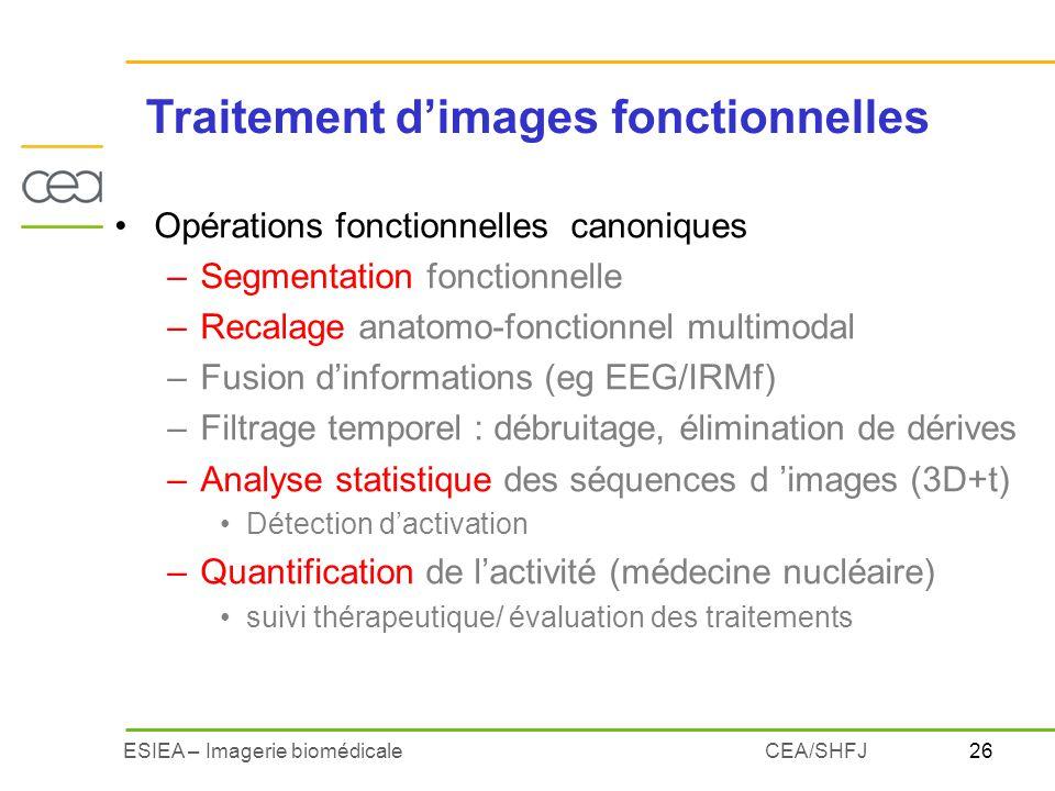 26ESIEA – Imagerie biomédicaleCEA/SHFJ Opérations fonctionnelles canoniques –Segmentation fonctionnelle –Recalage anatomo-fonctionnel multimodal –Fusi