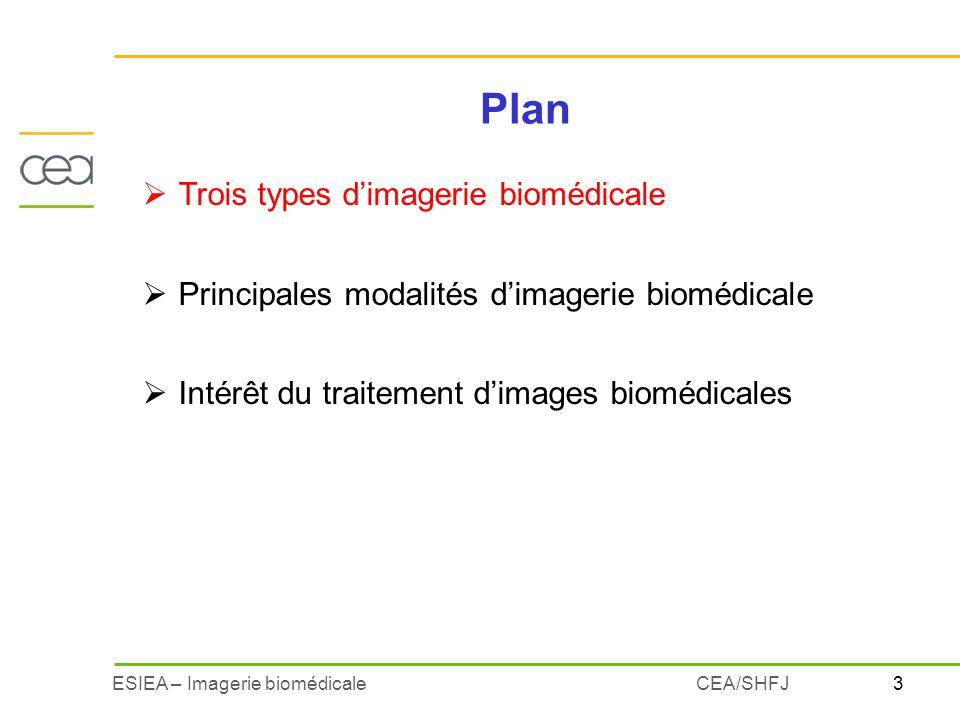 3ESIEA – Imagerie biomédicaleCEA/SHFJ Plan Trois types dimagerie biomédicale Principales modalités dimagerie biomédicale Intérêt du traitement dimages