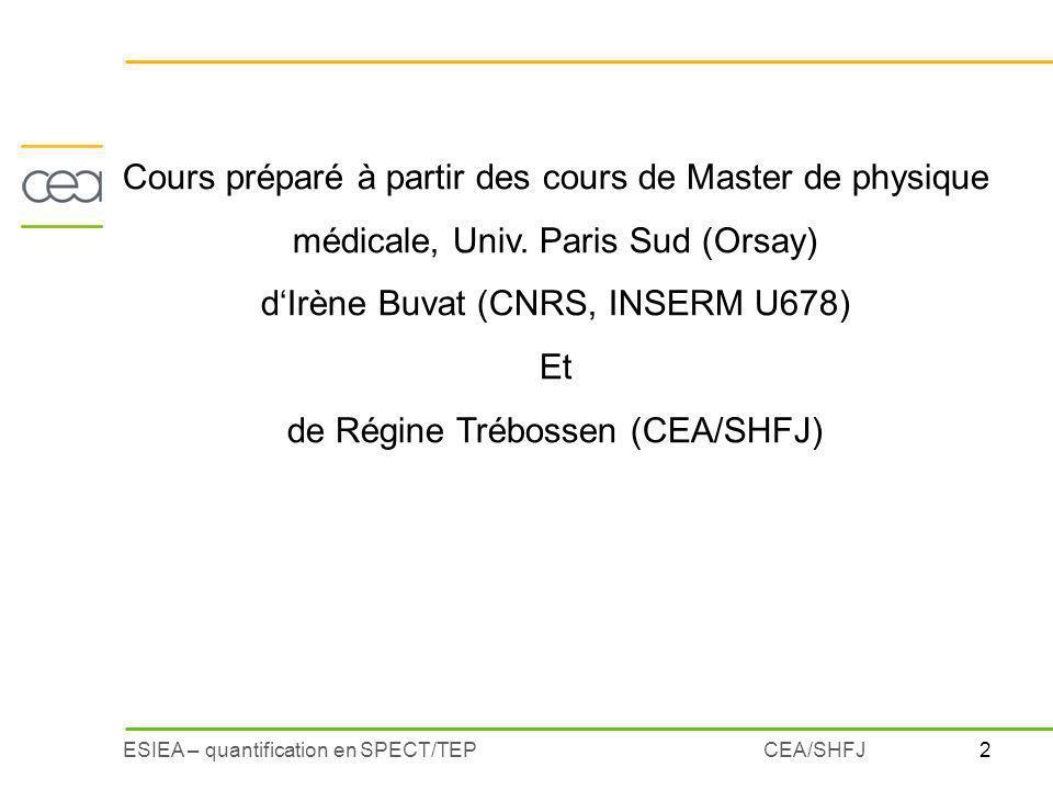 2ESIEA – quantification en SPECT/TEPCEA/SHFJ Cours préparé à partir des cours de Master de physique médicale, Univ. Paris Sud (Orsay) dIrène Buvat (CN