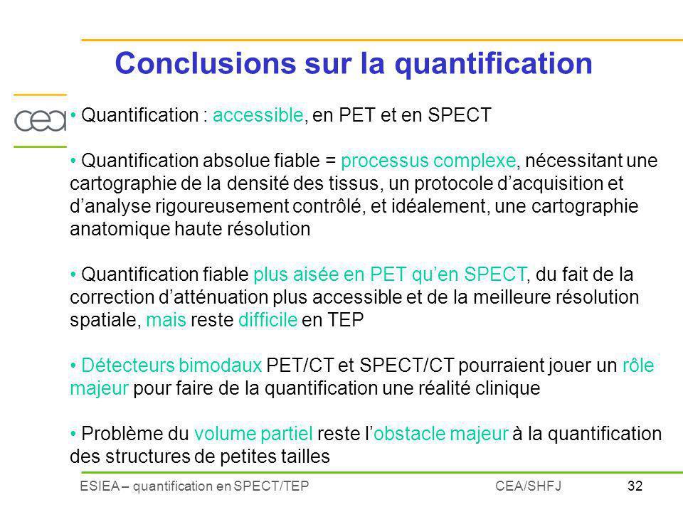 32ESIEA – quantification en SPECT/TEPCEA/SHFJ Quantification : accessible, en PET et en SPECT Quantification absolue fiable = processus complexe, néce