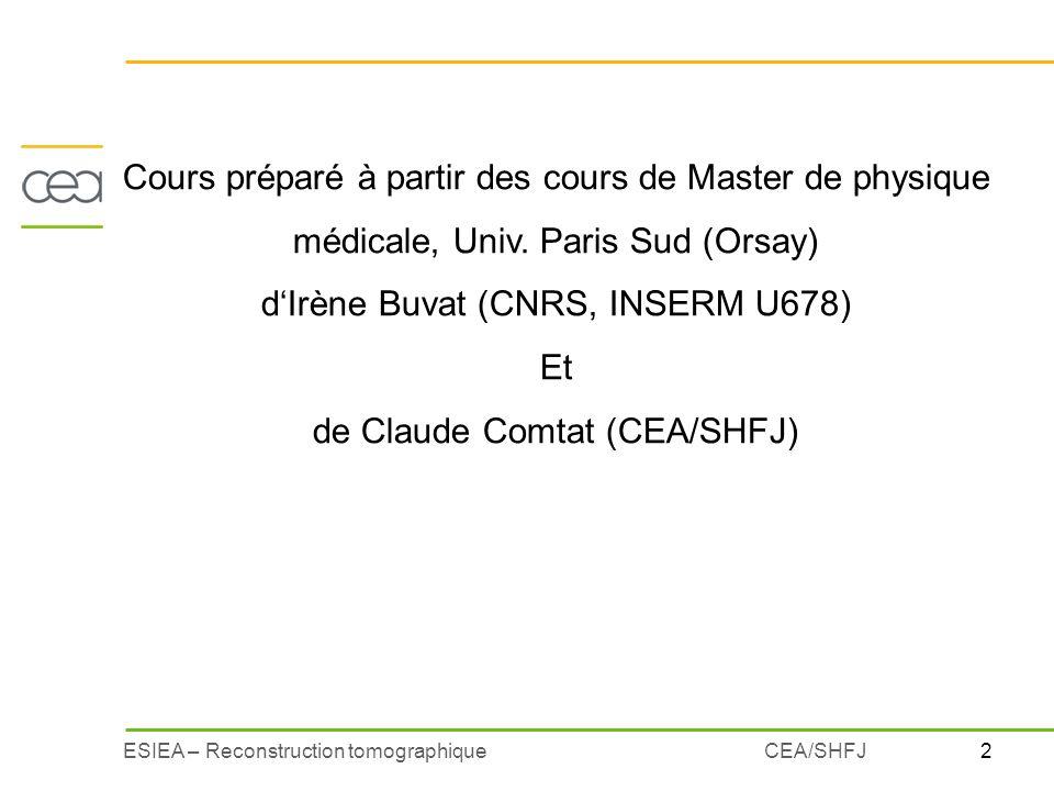 2ESIEA – Reconstruction tomographiqueCEA/SHFJ Cours préparé à partir des cours de Master de physique médicale, Univ. Paris Sud (Orsay) dIrène Buvat (C