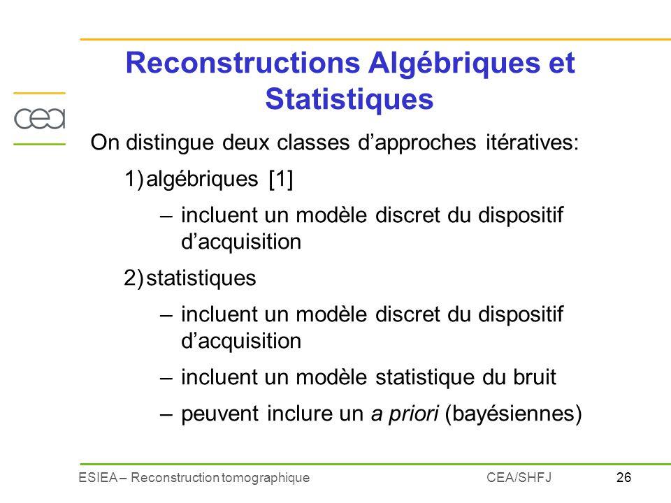26ESIEA – Reconstruction tomographiqueCEA/SHFJ Reconstructions Algébriques et Statistiques On distingue deux classes dapproches itératives: 1)algébriq