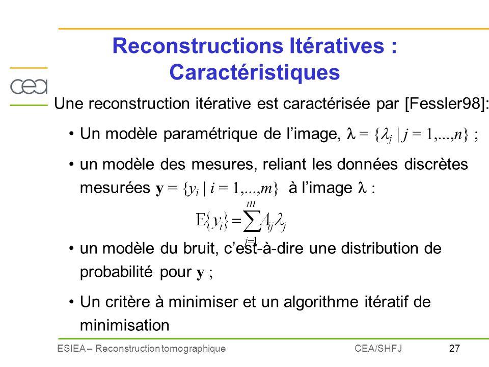 27ESIEA – Reconstruction tomographiqueCEA/SHFJ Reconstructions Itératives : Caractéristiques Une reconstruction itérative est caractérisée par [Fessle