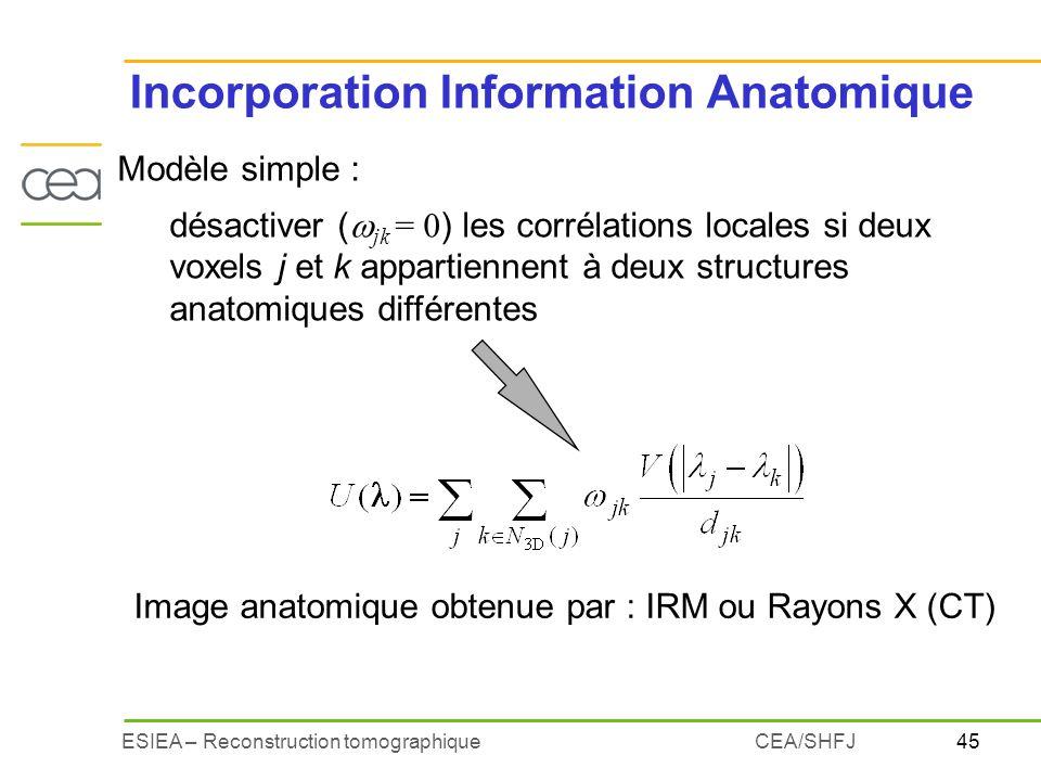 45ESIEA – Reconstruction tomographiqueCEA/SHFJ Incorporation Information Anatomique Modèle simple : désactiver ( jk = 0 ) les corrélations locales si