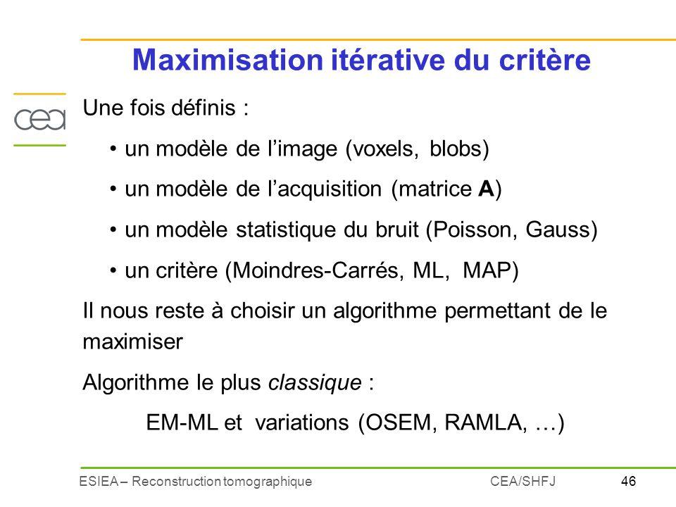 46ESIEA – Reconstruction tomographiqueCEA/SHFJ Maximisation itérative du critère Une fois définis : un modèle de limage (voxels, blobs) un modèle de l